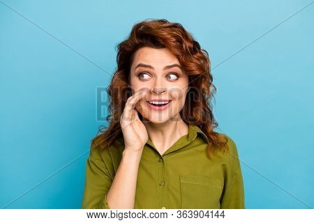 Portrait Of Enthusiastic Energetic Woman Look Copyspace Share Private Novelty Her Friend Enjoy Rejoi