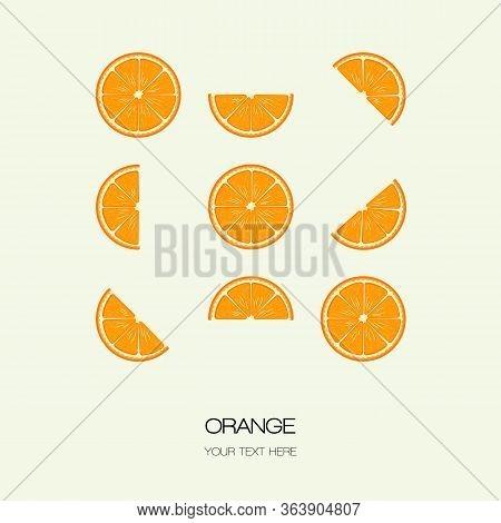 Vector Orange Slice Illustration Citrus Isolated Half Fruit . Fresh Green Cut Citrus Icon. Isolated