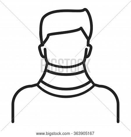 Orthopedic Cervical Neck Collar Black Line Icon. Isolated Vector Element.