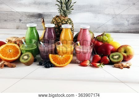 Assortment Of Fruit Smoothies In Glass Bottles. Fresh Organic Smoothie Ingredients. Smoothies For He