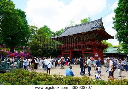 Tokyo / Japan May 04, 2019: Nezu Shrine Is A Shinto Shrine Located In The Bunkyo Ward Of Tokyo. It I