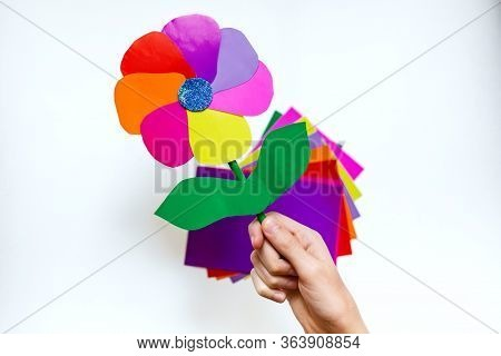 Step By Step Instructions Flower. How To Make A Flower At Home From Colored Paper. Step 8. Easy Crea