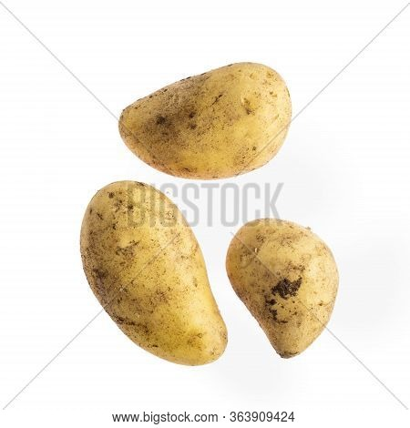 Unwashed Potato Is Isolated On White Background,