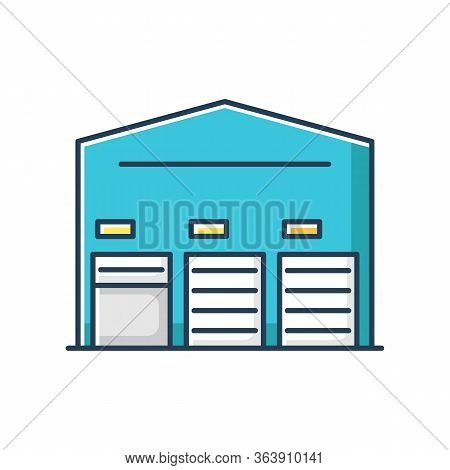 Self Storage Unit Front Rgb Color Icon. Industrial Building Entrance. Open And Closed Roller Doors O