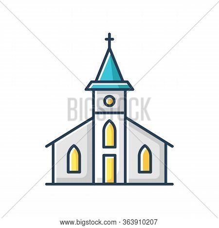 Catholic Church Rgb Color Icon. Religious Establishment Facade With Cross On Roof. Christian Town Ch