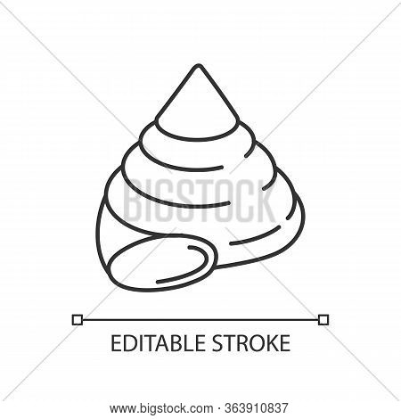 Top Shell Pixel Perfect Linear Icon. Exotic Snail Cockleshell Thin Line Customizable Illustration. C