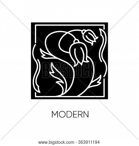 Modern Art Black Glyph Icon. Cultural Movement. Botanical Painting. Abstract Flowers Drawing. Modern