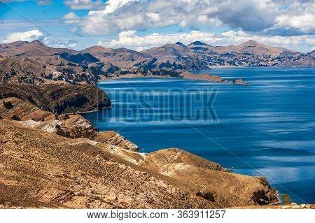 View From Isla Del Sol, Titicaca Lake, Comunidad Challa, Bolivia. View Of The Titicaca Lake On The B