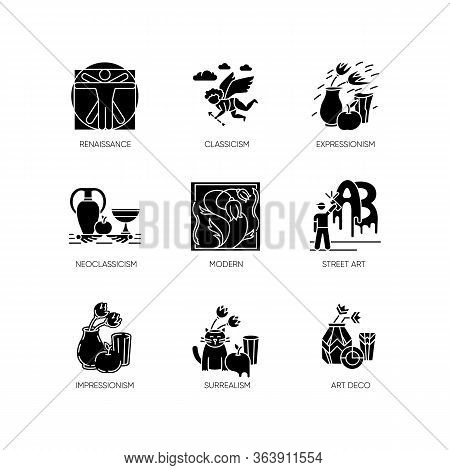 Art Movements Black Glyph Icons Set On White Space. Artworks In Surrealism, Neoclassicism Styles. Im