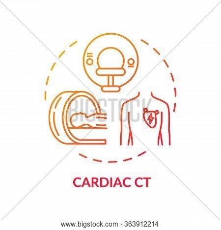 Cardiac Ct Concept Icon. X Ray Scanning, Cardiovascular Diseases Diagnostics Idea Thin Line Illustra