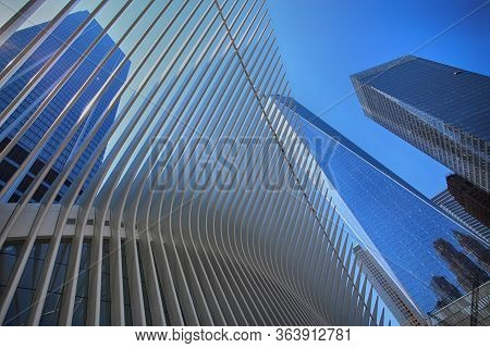 New York, Usa - August 24, 2018: Exterior Of The Building One World Trade Center And Oculus Ribs (wt