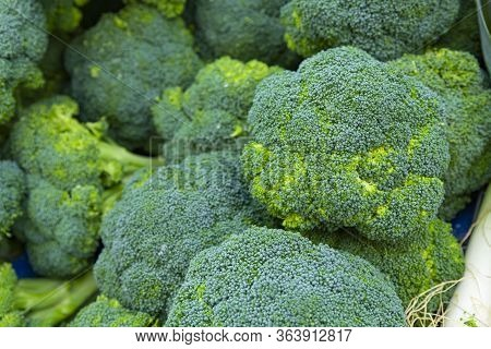 Heap Of Broccoli On Fruit Vegetables Street Market, Organic Ecological Food From Local Producers Far