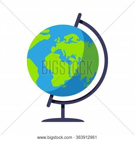 School Globe Semi Flat Rgb Color Vector Illustration. Classroom Earth Model On Stand. Sphere Map Of