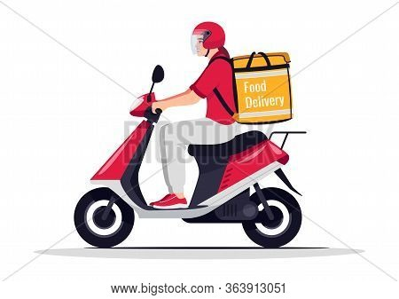 Food Delivery Service Semi Flat Rgb Color Vector Illustration. Bike Courier With Restaurant Order. D