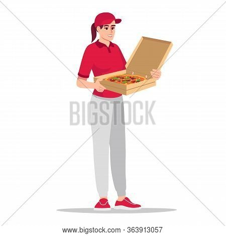 Female Courier In Red Shirt Holding Pizza Semi Flat Rgb Color Vector Illustration. Fast Food Deliver