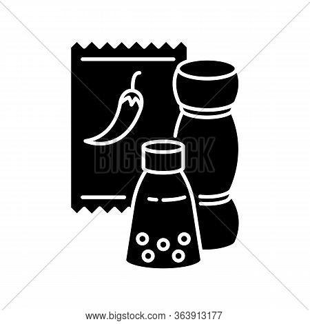 Condiments Black Glyph Icon. Pepper In Glass Jar. Salt For Cooking. Food Recipe Ingredient. Seasonin