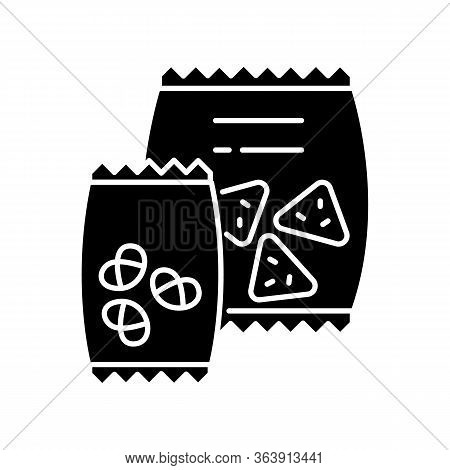 Snacks Black Glyph Icon. Potato Chips In Bag. Salty Crackers In Packet. Junk Food. Unhealthy Snacks.