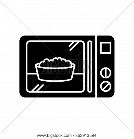 Ready Meal Black Glyph Icon. Microwave Food. Heated Popcorn In Bowl. Meal Preparation. Kitchenware E