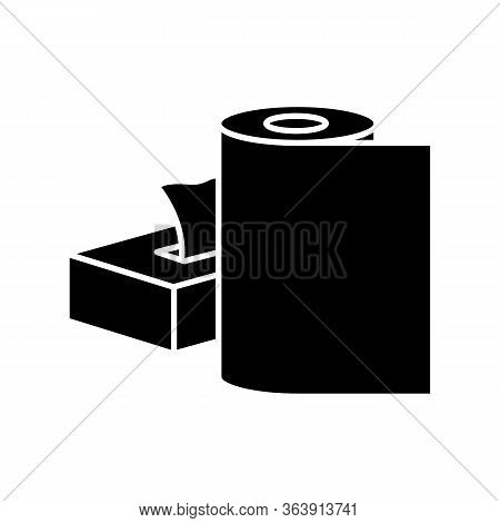 Paper Products Black Glyph Icon. Disposable Tissues In Box Package. Toiletries And Tablecloth. Clear