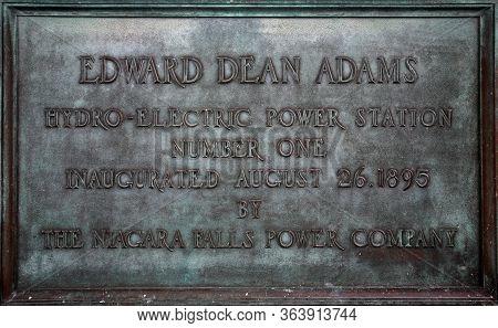 Niagara Falls, Usa - 2018 August 29, 2018: Memorial Plaque Edward Dean Adams, Hydro-electric Power S