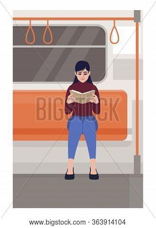 Woman Reading In Train Semi Flat Vector Illustration. Female Reader Holding Book In Public Transport