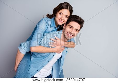 Portrait Of Positive Passionate Student Couple Man Hug Embrace Piggyback Woman Enjoy Romantic Date T