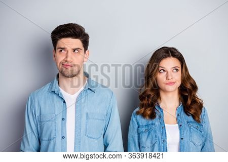 Portrait Of Pensive Unaware Spouses Fellows Look Copyspace Think Thoughts Decide Freelance Decisions