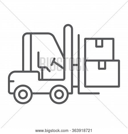 Forklift Truck Thin Line Icon, Logistic And Delivery, Bendi Truck With Boxes Sign Vector Graphics, A