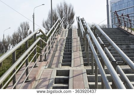 Steps, Rampant, A Staircase With Handrails, Railings, Descent And Ascent For People With Disabilitie