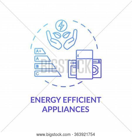 Energy Efficient Appliance Blue Concept Icon. Electricity Economy With Smart House. Power Conservati