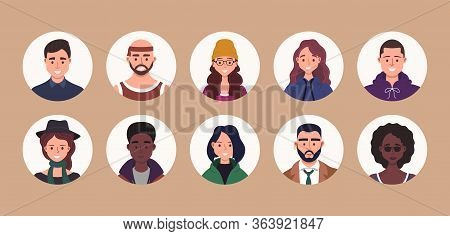 People Avatar Bundle Set. User Portraits. Different Human Face Icons. Male And Female Characters. Sm