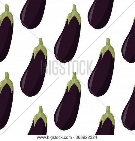 Fresh Eggplant Seamless Pattern. Vegetable Aubergine Background.