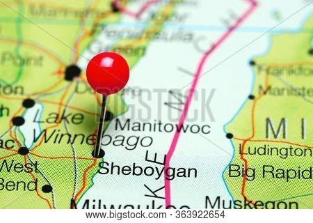Sheboygan Pinned On A Map Of Wisconsin, Usa