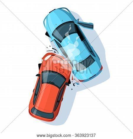 Car Crash Semi Flat Rgb Color Vector Illustration. Road Collisition. Road Accident. Damaged Transpor