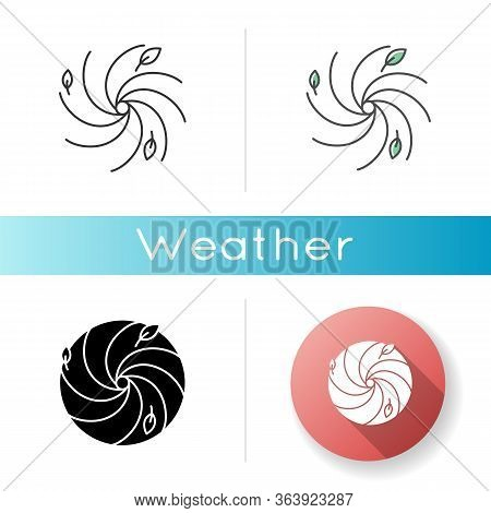 Hurricane Icon. Linear Black And Rgb Color Styles. Bad Meteorological Forecast, Extreme Weather. Dan