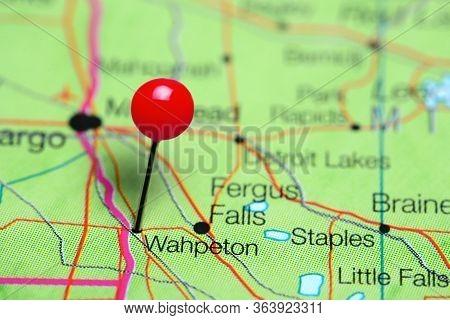 Wahpeton Pinned On A Map Of Minnesota, Usa