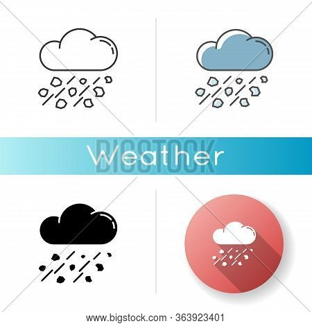 Mixed Rain Icon. Linear Black And Rgb Color Styles. Hailstorm, Meteorology. Bad Weather Forecast, St