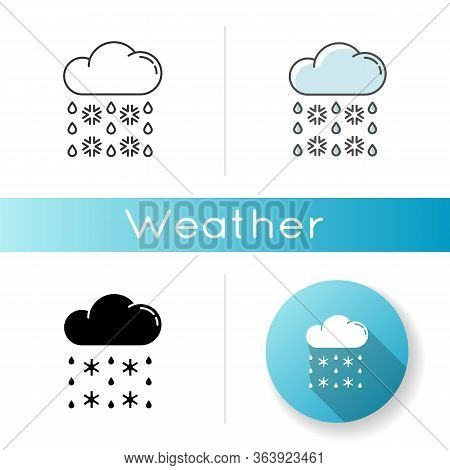 Heavy Snow, Sleet Icon. Linear Black And Rgb Color Styles. Winter Weather Forecast, Meteorology. Atm