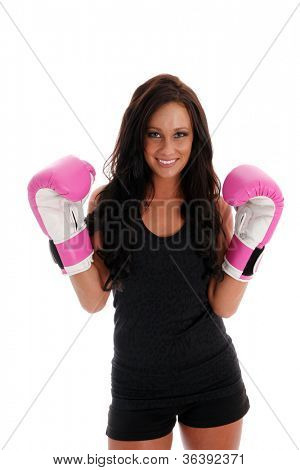 Woman boxing with a punching bag on white background