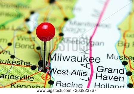 West Allis Pinned On A Map Of Wisconsin, Usa