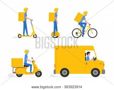 Online Delivery Service. Truck, Drone, Electric Scooter, Gyroboard, Scooter And Bicycle Courier. Del