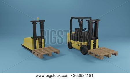 Industrial Forklift And Agv Robotic Forklift Truck With Pallet On Blue Background. 3d Rendering Imag