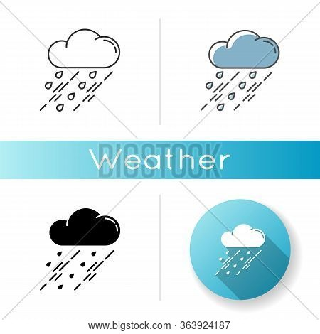 Showers Icon. Linear Black And Rgb Color Styles. Rainy Season, Weather Forecasting, Meteorology. Str