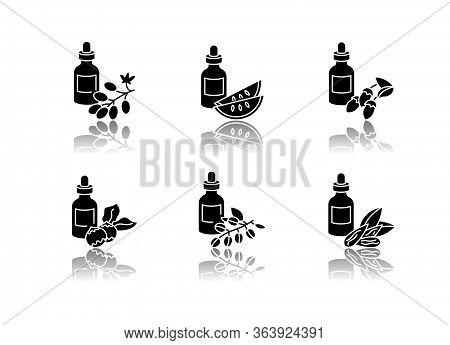Hair Oils Drop Shadow Black Glyph Icons Set. Avocado Beauty Product. Kalahari Melon Seed Essence In