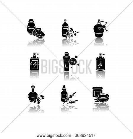 Hair Oils Drop Shadow Black Glyph Icons Set. Hydrolyzed Wheat Protein. B7 Biotin Treatment. Herbal P