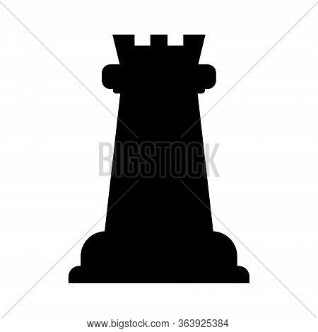 Vector Illustration Of Chess Rook Icon. Black Chess Rook Icon On White Background.