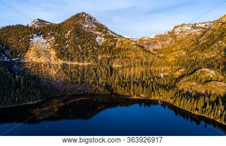 Golden Hour Mirrored Reflections Of The Sierra Nevada Mirrored Reflections Of Emerald Bay On Lake Ta