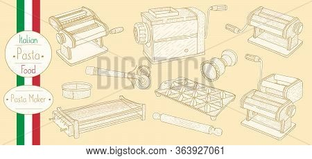 Pasta Maker Equipment For Cooking Italian Food , Sketching Illustration In Vintage Style