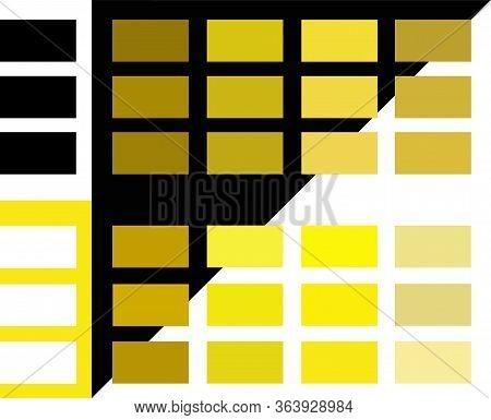Bright Color Palette Guide Vector Illustration Set. Conceptual Black, White, Golden Yellow And Beige