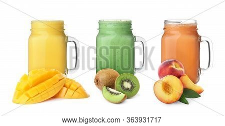 Different Delicious Smoothies In Mason Jars On White Background. Banner Design
